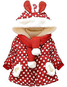Garsumiss Baby Mädchen Mäntel -Jacken, Kapuzenjacke für Kaninchen Fleecefutter mit Bowknot Gefüttert Jacket 0-...