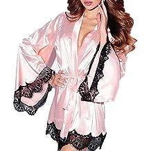 DEELIN Moda Femenina Kimono De Seda Sexy Dress Up Babydoll Encaje LenceríA Sexy Albornoz Pijamas (