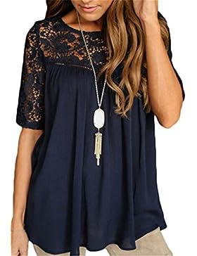 SHUNLIU Camisetas Mujer Blusas de Mujer Calado Bordado de Crochet Camisa del Cordón de la Blusa de Mangas Cortas...