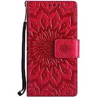Uposao Handyhülle für Samsung Galaxy A3 2015 Leder Tasche Schutzhülle Brieftasche Handytasche Retro Vintage Henna Mandala Blumen Ledertasche Lederhülle Klapphülle Case Flip Cover,Rose Rot