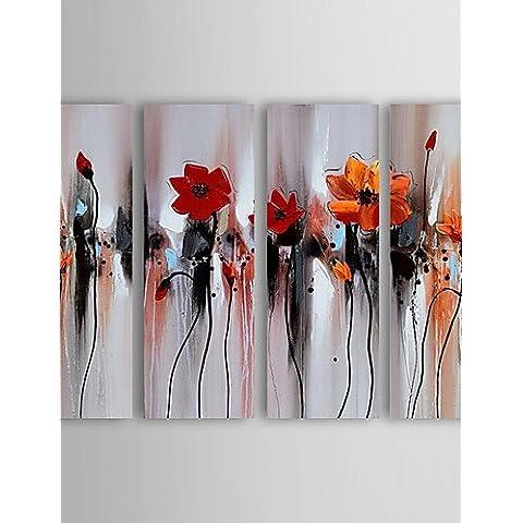 WEIAN Pittura a olio fiore astratto Set di 4 dipinti a mano con tela tesa incorniciato,24