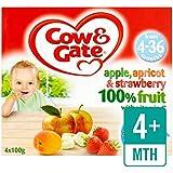 Cow & Gate 4 MOIS + abricot et fraise 100% de fruits Pots 4 x 100g