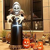 TOLEAD 6 pies de Halloween Inflable Ghost, esqueleto inflable con luces LED internas para interior y exterior, decoración de césped / patio / jardín, negro