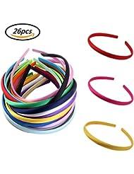 f2c65387932e Candygirl Lot de 26 Pièces 10 mm fille Serre-Tête Satin Couvert Bandeaux  Cheveux Accessoires