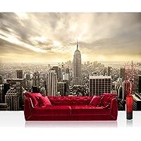 Image of Non-woven Photographic Wallpaper 400X280cm Premium Plus USA Wall Mural Photo Wallpaper–Manhattan Skyline View–New York Skyline Empire State Building Sephia–No. 037 - Comparsion Tool