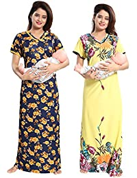 TUCUTE Women Beautiful Floral Print with Invisible Zip + Navy Blue Floral  Print Feeding Maternity Nursing Nighty Night Gown Night… e31d6219e
