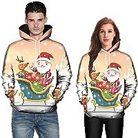 LILICAT® Hombres Mujeres Modo 3D Estampado de Navidad Parejas de Manga Larga Sudaderas con Capucha Top Blusas (M/L / XL / 2XL / 3XL / 4XL / 5XL)