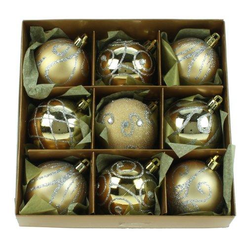 Christmas Direct Set of Nine Gold Christmas Tree Baubles (6cm)