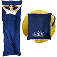 Sleeping Bag Liner + Pillow Inlet by BeMaxx Outdoor – Compact, Lightweight Inlay | Summer Microfibre Bedroll | Space–saving and Perfect for Travelling, Trekking, Camping, Hiking | Men, Women, Children