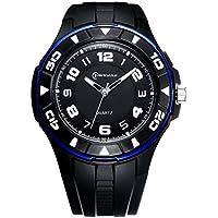 Unisex 30m impermeabile luce notturna semplice stile pu cinturino in pelle al quarzo orologio da polso (Blu)