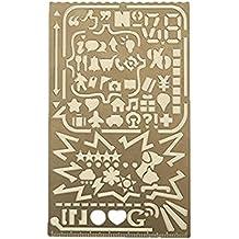 fittoway multifuncional portátil de acero inoxidable dibujo Graffiti plantilla herramienta Regla, DIY álbum de fotos 60aperturas Diary dibujo diseño de número alfabeto icono Stencil