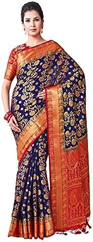 VIBTAG Women's Kanchipuram Art Silk Saree With Unstitched Blouse (29_B