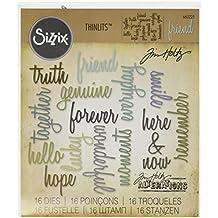 Sizzix Friendship Words Script by Tim Holtz Thinlits - Plantilla de troquelado(16 unidades), diseño de palabras
