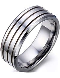 JewelryWe 8 mm pulido borde biselado Triple ajuste cómodo Anillo ranurado de carburo de tungsteno de