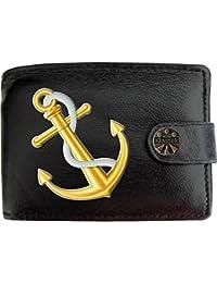 02497bf4c7cdf Ships Anchor White Rope Gold Schiffe Anker weißes Seil Klassek Herren  Geldbörse Portemonnaie Brieftasche aus echtem
