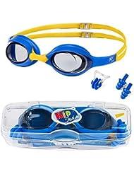 KidSwim Lunettes de Natation pour Enfants âgés de 4 à 12 Ans, sans Fuite, avec lentille antibuée et Sangle en Silicone Souple