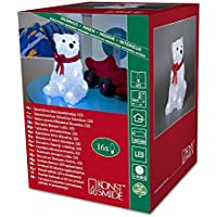 Battery LED Acrylic Sitting Polar Bear - 16 LEDs - 18cm high - 3D Christmas Decoration - 6159-203