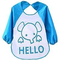 Westeng Babero impermeable para bebés Plástico Flexible Patrón de dibujos animados Niños Bebés Baberos con Mangas Larga Muy práctico para el bebé Babero - Azul