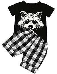 VêTements De BéBé Garçon,Sunenjoy Tout Petits Costumes Fox T-Shirt Tops Plaid Shorts Set