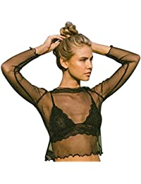 Mangotree Damen Perspektivebluse Glänzend Transparent Netz T-Shirt Crop Top  Langarm Bluse Tank Tops b85070026c