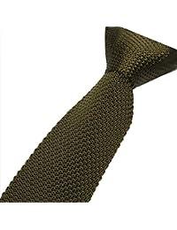 Cravatemince pour hommes vert Kaki Unis bout carré de 5cm