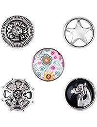 Morella small Click-Button Set de señoras 5 pcs botones 12 mm diámetro caballo con flores y estrellas