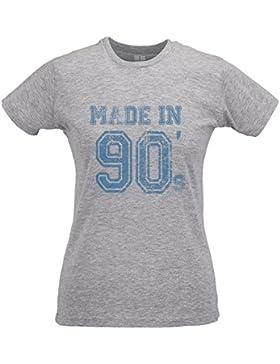 LaMAGLIERIA Camiseta Mujer Slim Made in 90 Blu Print - T-Shirt Divertida 100% Algodòn Ring Spun