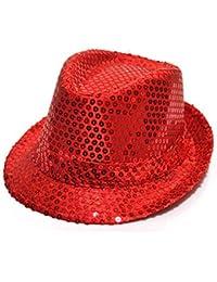 paillette chapeau panama enfants(Rouge)