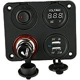KKmoon Base Panel 4 Agujeros + Dual Toma USB + Voltímetro + Enchufe de Fuente con Mechero + Interruptor de Botón ON-OFF para Coche Camión Moto Barco ATV