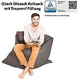 QSack Kultsack mit Toxproof Mikroperlen Sitzsack Füllung schadstoffgeprüft mit Sitzsack Innenhülle, Kunstleder Sitzsack Bezug, Neu (dunkelgrau)