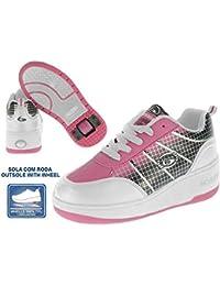 Beppi 2150431 - Zapatillas con ruedas para niña, color blanco / rosa