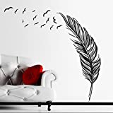 Zooarts Creative plumas negro adhesivo de pared vinilo adhesivos decoración mural
