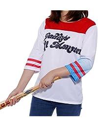 Surepromise Chemise T-Shirt de Deguisement Harley Quinn Suicide Squad Daddy's Lil Monster pour Femme Fille S M L