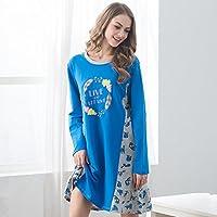 DMMSS Camicia da notte bella donna puro cotone girocollo manica lunga sciolti pigiama set , xl
