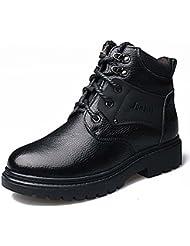 wzw moda Hombre de piel auténtica botas de combate/zapatos, negro