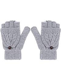 ROSENICE Guanti senza dita donne calda lana maglia guanti con guanto  Cover(Grey) 54321c255f19