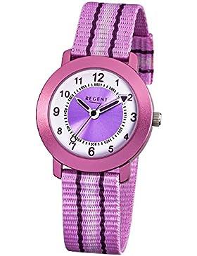 Regent Kinder-Armbanduhr Elegant Analog Textil-Armband rosa Quarz-Uhr Ziffernblatt weiß lila URF725