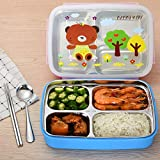 FWQPRA Lunch Tools Stainless Steel & Plastic Kids Bento Box 4 Grid With Lid Food Storage Box Container Lunch Bento Boxes