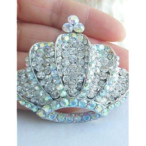 in lega di moda cristallo strass silver-tone matrimonio corona delle donne spilla da (Tone Cuore Spilla)