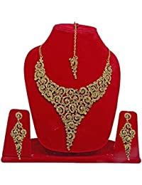 Baal Karva Chauth And Diwali Special Gift Gold Plated Necklace Set For Women, 50 Gram, Golden, Pack Of 1