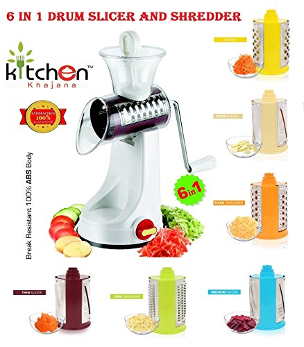 Kitchen Khajana™ Multi-Functional 6 In 1 Drum Slicer And Shredder (Transparent Elegant Look)