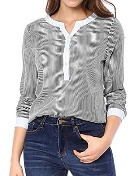 Allegra K Camisas - Blusa - Manga Larga - para mujer