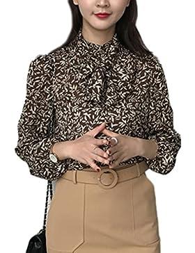 Retro arco Floral blusa delgada mujeres Khaki L