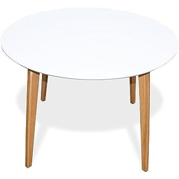 Loft24 ASTARIA Esstisch Esszimmertisch Tisch Rund Ø110 Cm Beistelltisch Couchtisch  Skandinavisches Design MDF Retro