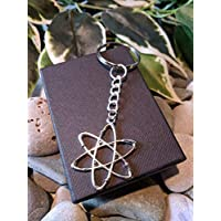 Handmade Atom Molecule Silver Plated Keyring/bag Charm. Dad Father Gift. Scientist Physics Teacher Lecturer. Can be personalised. Gift Packaged.