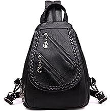 Cremallera doble Moda Mujer Ocio mochila de cuero pu bolsas escolares para niñas adolescentes