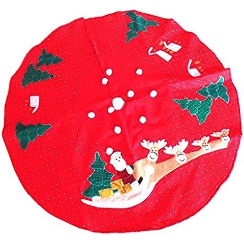 100cm Renos Falda de árbol de Navidad Patrón de Santa 2-capa Decoración Apliques
