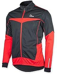 Rogelli para hombre Chaqueta de ciclismo Ubaldo, Black/Red, XXXXL, 003.028, 4XL