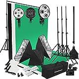 Excelvan - Kit de Profesioanl Iluminación Caja de Luz Softbox Estudio de Fotografía 50x65Cm (con 12 Unidades de 45W Bombillas 5500K, 3 Telón de Fondo 3x1.5m, Bolsa para Llevar)