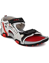 Fuel Women Grey Red Velcro Closure Sports Sandals & Floaters For Girls